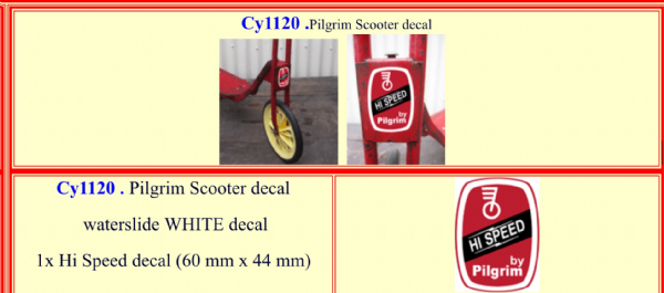 CY1120 Pilgrim Scooter decal